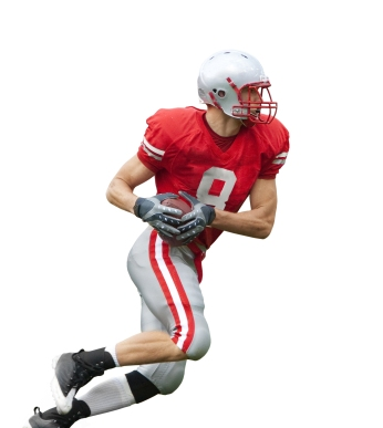 football Player running with the ball isolated on a white backgr